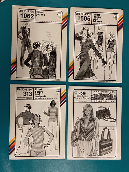 Stretch & Sew Patterns - Group 11:  1062, 1505, 313, 4068 from 70's, 80's, 90's
