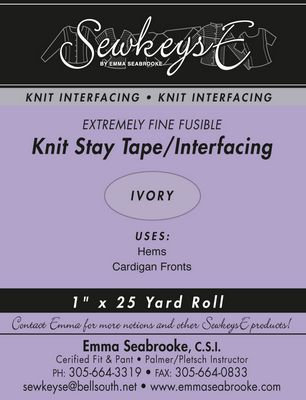"Knit Fusible Stay Tape: White - 1"" x 25 yd Roll"