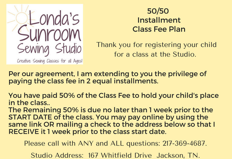 50% Payment on $115 Class