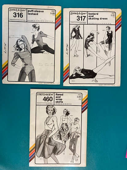 Stretch & Sew Patterns Group 49:  316, 317, 460 from 70's & 80's