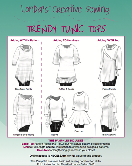 Trendy Tunic Tops Sewing Pattern Booklet - PDF Electronic Delivery