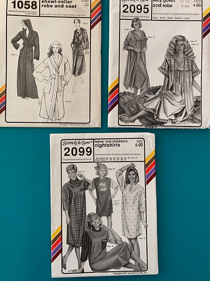 Stretch & Sew Patterns - Group 28:  1058, 2095, 2099  from   80's & 90's