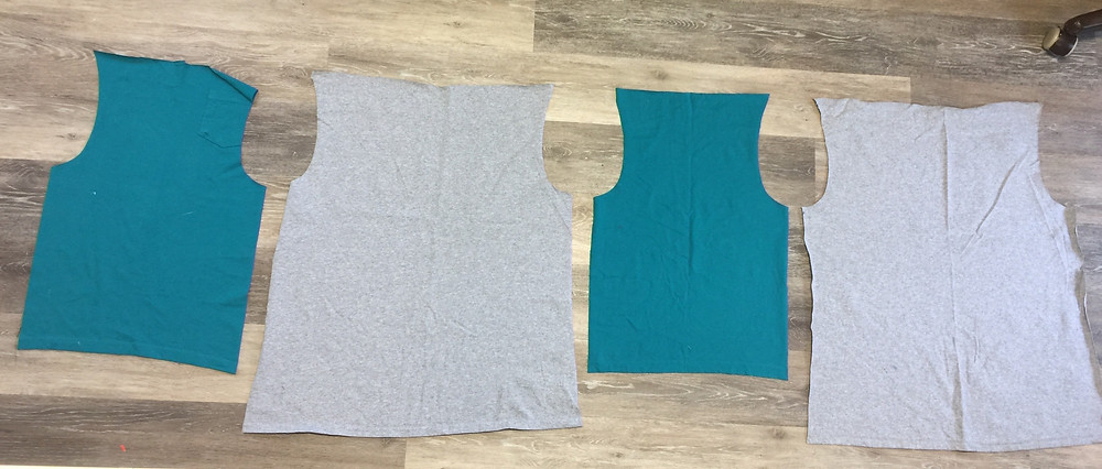 layout of sleeves to body to stitch
