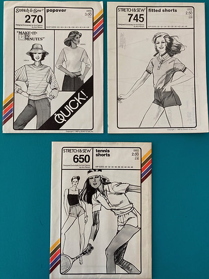 Stretch & Sew Patterns - Group 42:  270, 745, 650  from 70's & 80's