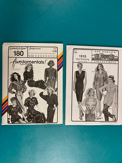 Stretch & Sew Patterns Group 7:  180, 1515 from 80's and 90's