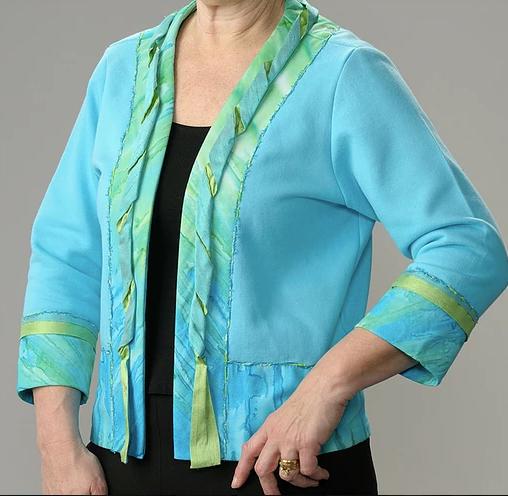 Priscilla Sweatshirt Jacket Trimmed with Batik and Silk
