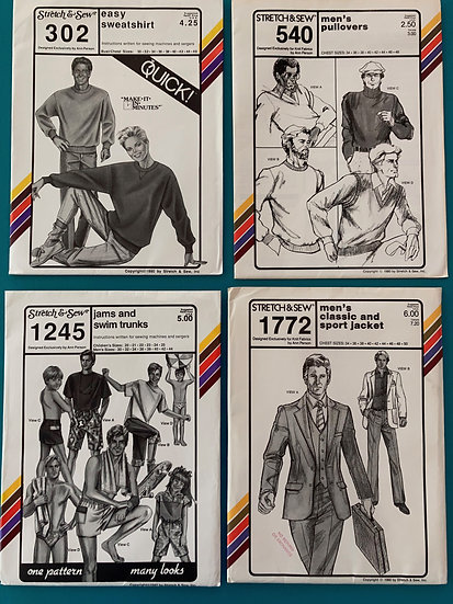 Stretch & Sew Men's Patterns Group 32:  302, 540, 1245, 1772 from 80's & 90's