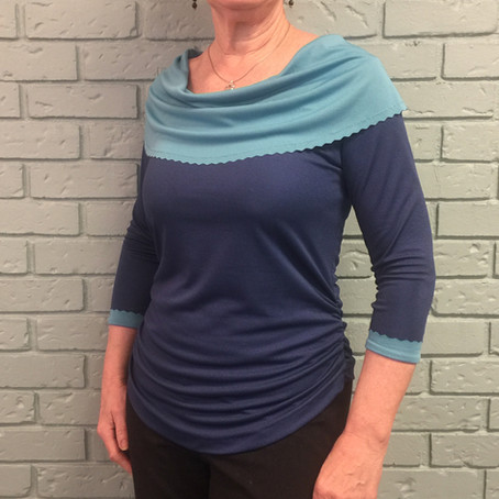 Reversible Knit Top with Wave-Rotary Cut Edges -Test Top #2