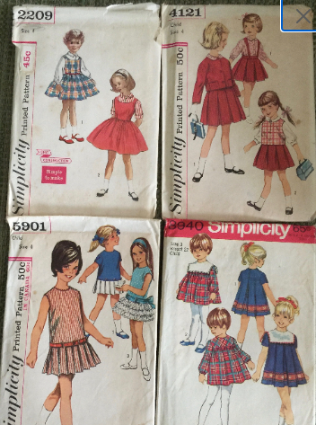 Vintage 1960's Sewing Patterns for Children - Size 3 & 4