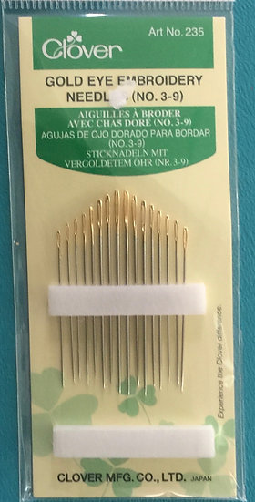 Clover Gold Eye Embroidery Needles Size 3, 4,5, 6, 7, 8, 9