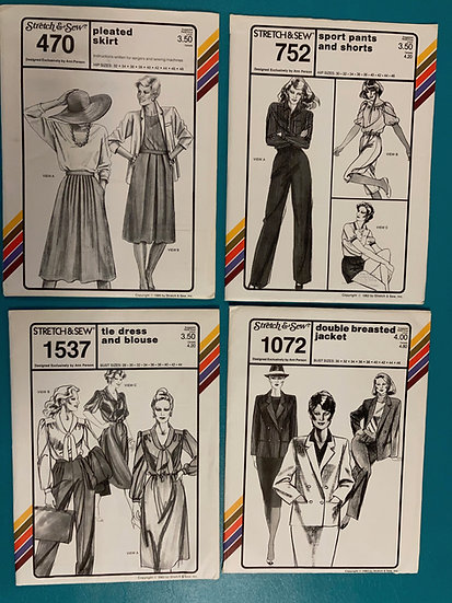 Stretch n Sew Patterns:  Group 21:   470, 752, 1537, 1072 from 1980's