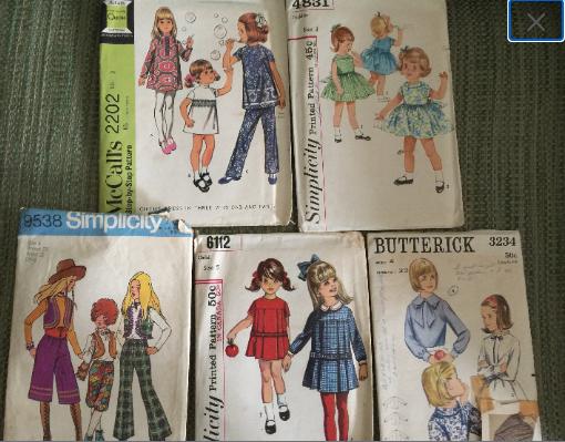 Vintage 1960's, 1970 Children's Sewing Patterns - 5 patterns Size 3-5