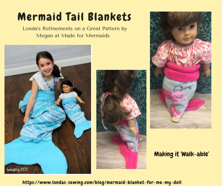 "images of mermaid tail blanket for child and 18"" doll"