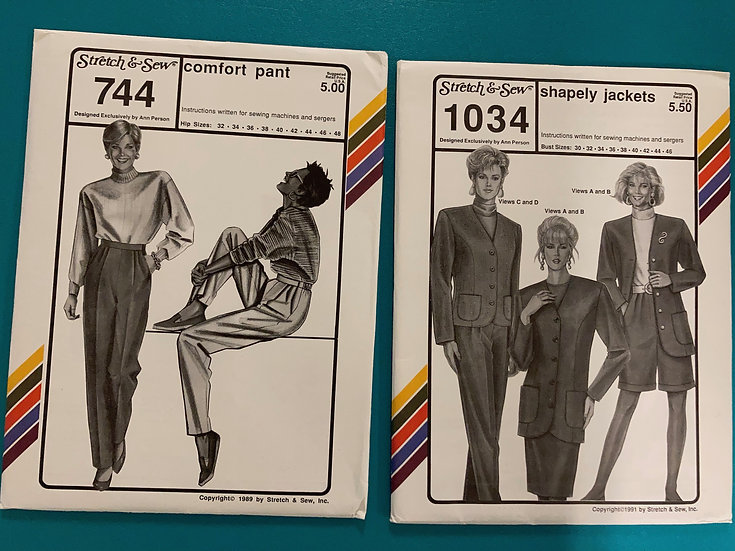 Stretch & Sew Patterns - Group 25:  744, 1034 from 80's, 90's