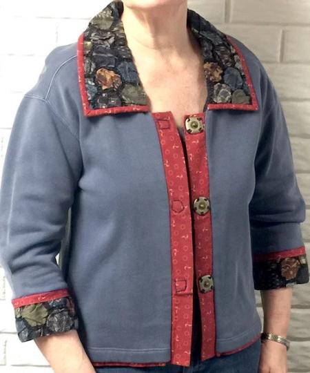 Textured Collar Denim Sweatshirt Jacket