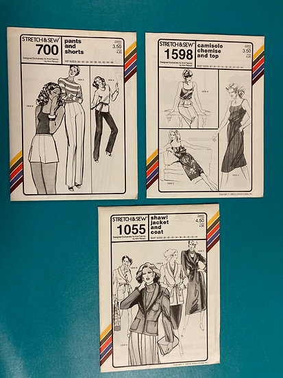 Stretch & Sew Patterns - Group 5:  700, 1598, 1055 from 70's & 80's