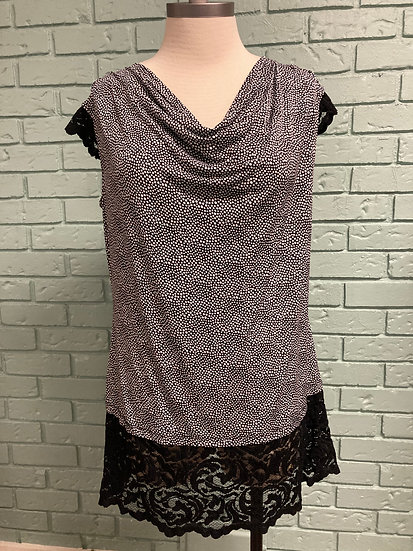 Black/White Lace-Trimmed Cowl Long Top  (Large)