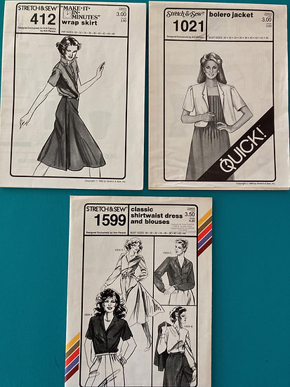 Stretch & Sew Patterns - Group 35:  412, 1021, 1599 from 1980's
