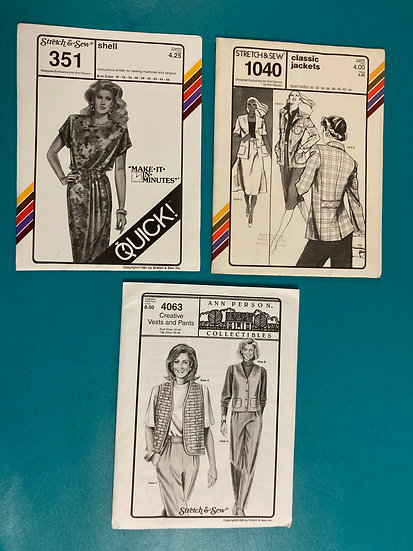 Stretch & Sew Patterns - Group 6: 351, 1040, 4063  from 70's, 90's