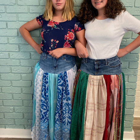 UP-Cycled Scarf-Bottomed Jeans Skirts