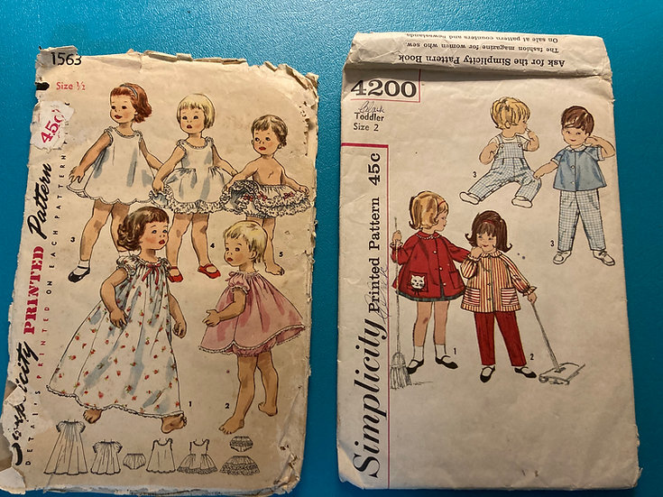 Vintage 1960's Toddler Sewing Patterns:  Collection of 2: size 1/2 and Toddler 2