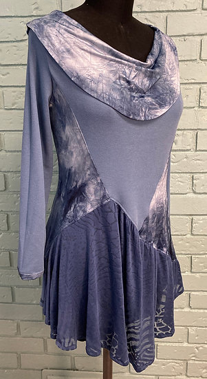 Soft Blue Knit Fabric Mix Swingy Tunic Top (Large 12-14)