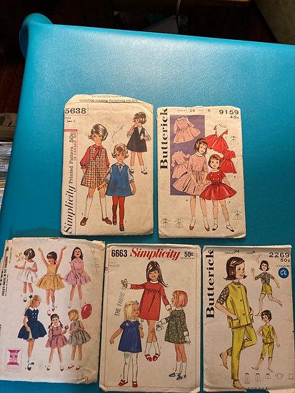 Vintage 1960's Children's Sewing Patterns-5 patterns Size 6-6X