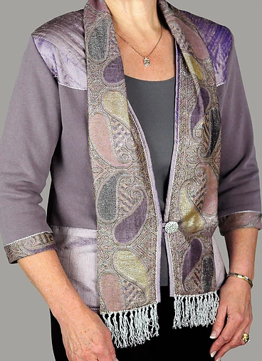 Lilac Sweatshirt Jacket Trimmed with Pashmina and Silk