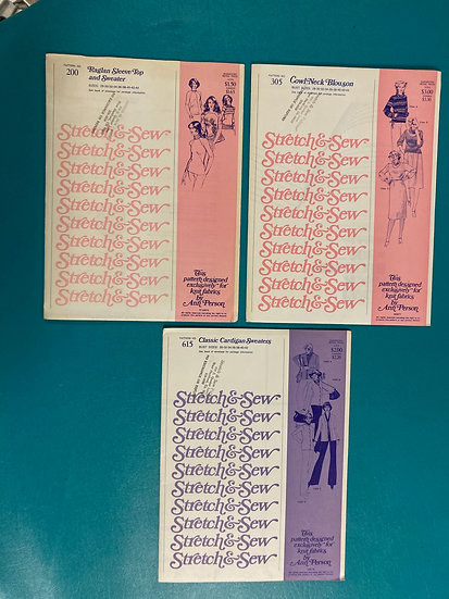 Stretch & Sew Patterns - Group 2:  200, 305, 615 from 60's, 70's