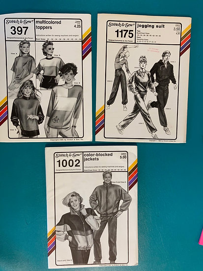 """Stretch & Sew Patterns Group 50:  397, 1175, 1002 from the 80""""s & 90's"""