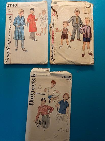 Vintage 1960's Boys Sewing Patterns:  3 patterns size 4-6