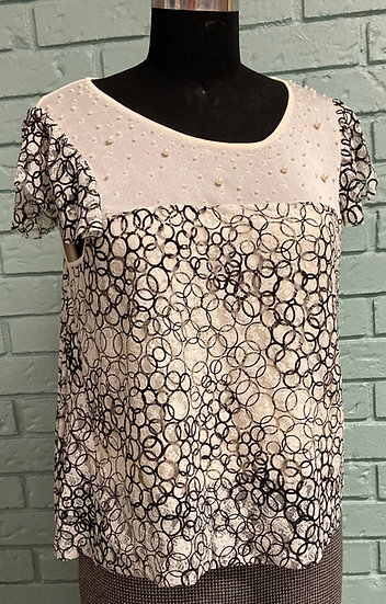 Pearl-Encrusted Cropped Sweater Top (XL)