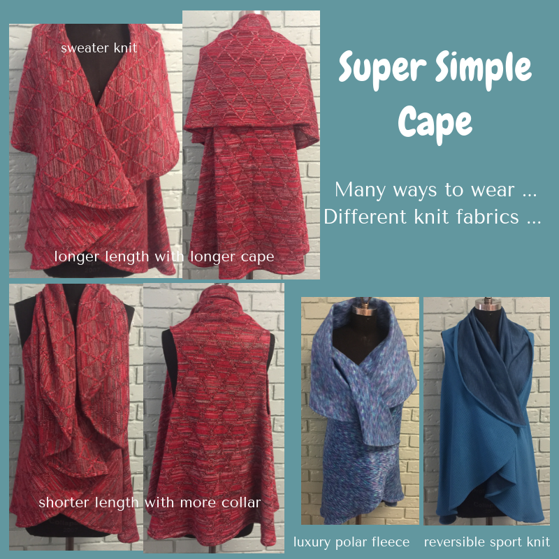 photos of different fabrics and ways to wear the cape.
