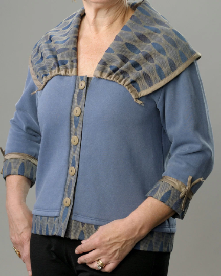 Wide Collared Vision Sweatshirt Jacket