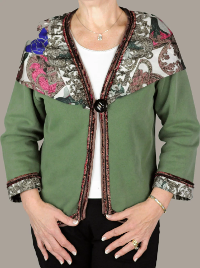 Draped Silk Scarf Green Sweatshirt Jacket
