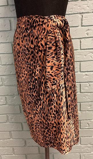 Leopard Animal Print Lycra Knit Wrap Skirt (Medium-Large)