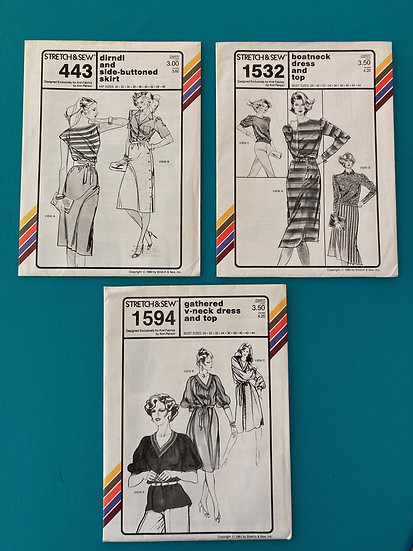 Stretch & Sew Patterns - Group 36:  443, 1532, 1594  from 1980's