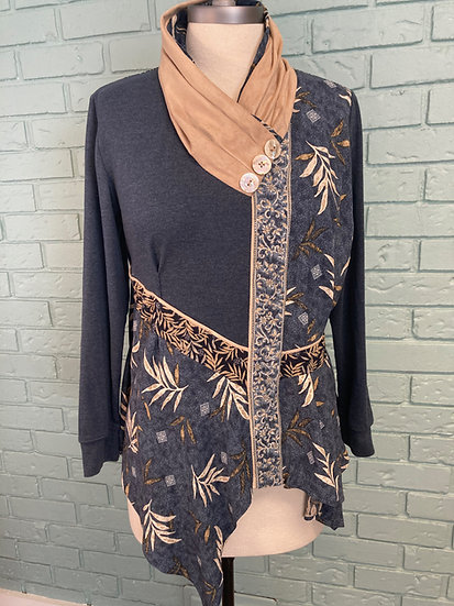 Up-Cycle Top:  Menswear Knit Base + Rayon Print + Butter Suede - large
