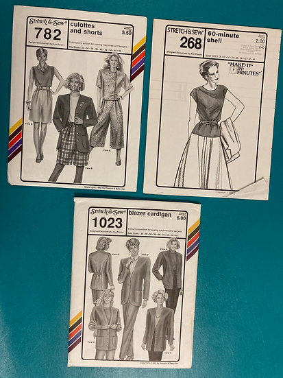 Stretch & Sew Patterns Group 17:  782, 268, 1023  from 80's & 90's