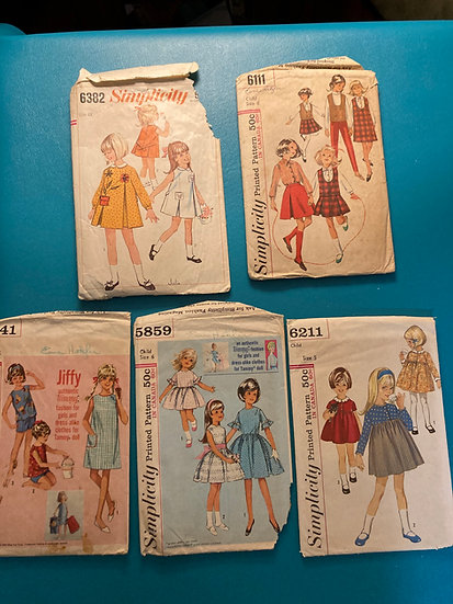 Vintage 1960's Children's Sewing Patterns - 5 patterns Sizes 5-6-6X