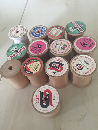Baker's Dozen Antique Wooden Spools - Collection #2