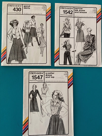 Stretch & Sew Patterns - Group 38:  430, 1542, 1547  from 70's and 80's