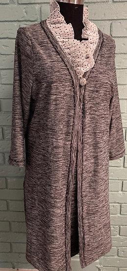 Ruffle Neck Black/White Duster Coat for Women  (2XL)
