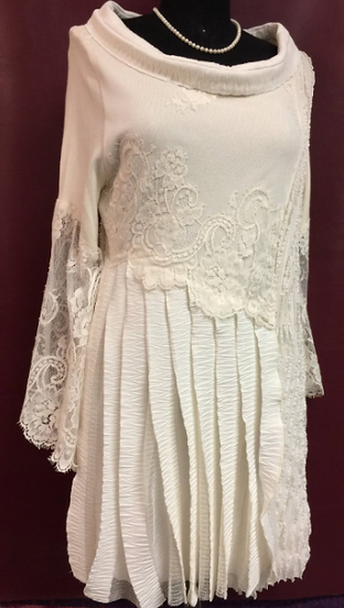 Ivory Boho Lace and Ruffled Fabric Hand-Made Tunic Top on a Sweater Base (14-16)