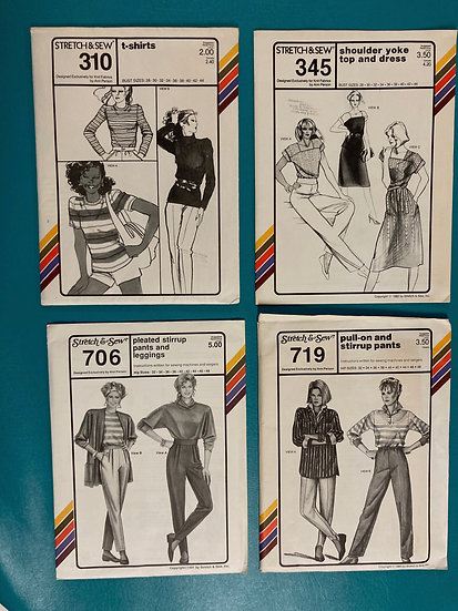 Stretch & Sew Patterns Group 10:  310, 345, 706 719 from 80's & 90's