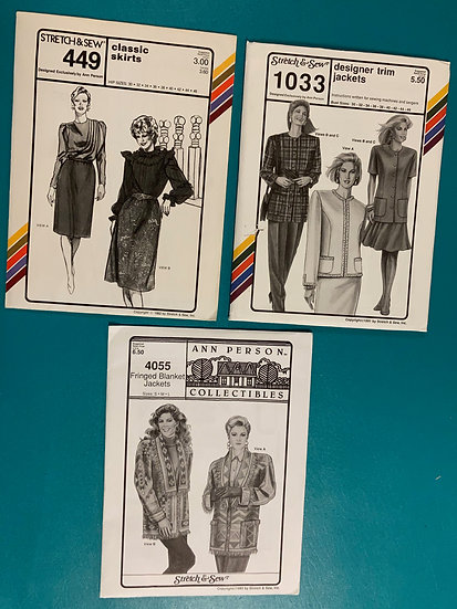 Stretch & Sew Patterns Group 16:  449, 1039, 4055 from 80's & 90's