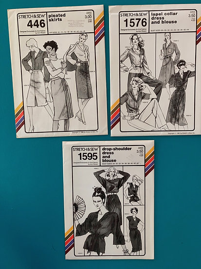 Stretch & Sew Patterns - Group 33:  446, 1576, 1595 from 70's & 80's
