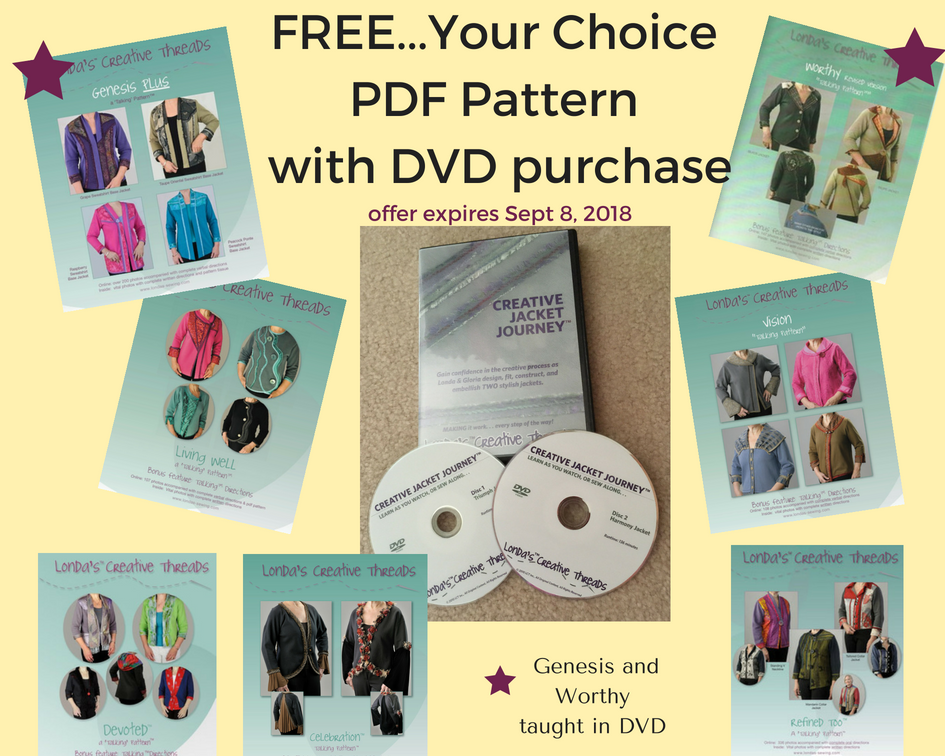 FREE PDF Jacket Pattern/Tissue with Creative Jacket Journey DVD Purchase