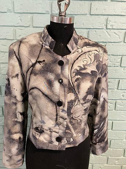 Grey Silk Embellished Jacket (Size 16)