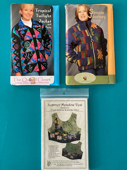 Quilted Jacket Patterns (2) and Quilted Vest Pattern - Ladies